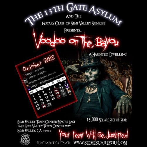Voodoo on the Bayou, Simi Valley, 13th Gate Asylum, Rotary Club of Simi Valley Sunrise, seemescareyou, haunted house, haunt, CA, Halloween, 2018