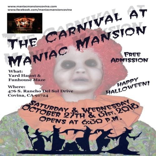 The Carnival at Maniac Mansion, Maniac Mansion, Home Haunt, Covina, CA, 2018, Halloween