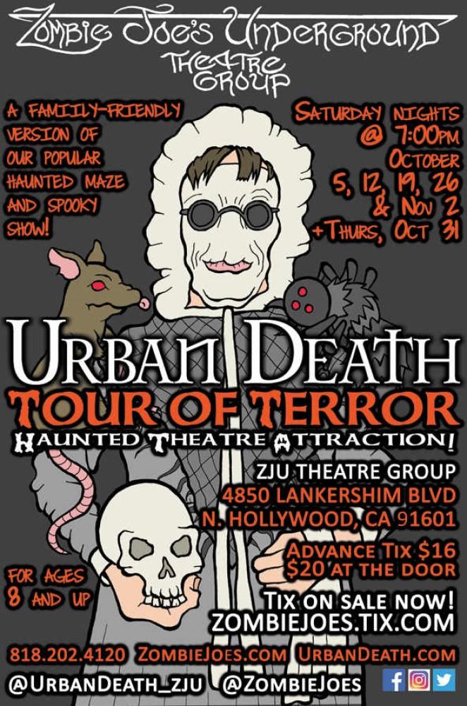 Zombie Joes Underground Theatre Group, Urban Death for Kidz, Los Angeles, CA, Immersive Horror, Maze