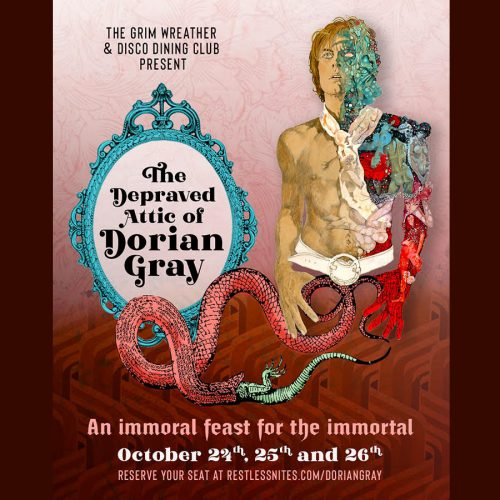 The Depraved Attic of Dorian Gray, Disco Dining Club, The Grim Wreather, DDC, Dinner and Drinks, Immersive, Los Angeles, CA