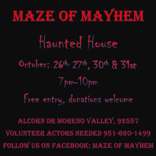 Maze of Mayhem, Home Haunt, Moreno Valley, Inland Empire, CA